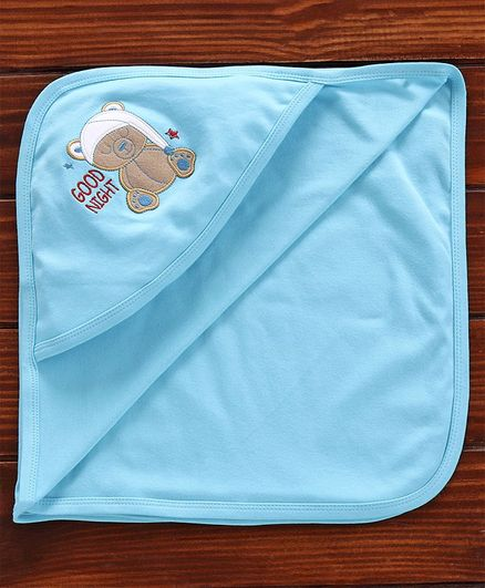 Simply Hooded Towel Bear Embroidered - Sky Blue