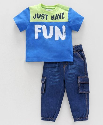 Babyoye Cotton Half Sleeves Tee & Jeans Text Print - Blue Green