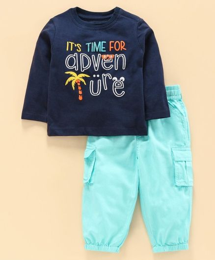 Babyoye Full Sleeves Suit  Text Print  - Blue Green