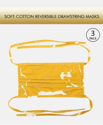 Tossido Reusable Printed Cotton Face Mask with Drawstring Yellow - Pack of 3