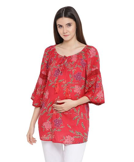 Oxolloxo Three Fourth Sleeves Flower Print Maternity Top - Red