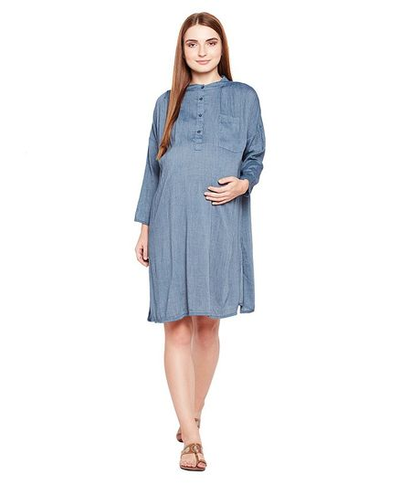 Oxolloxo Full Sleeves Button Down Maternity Dress - Blue