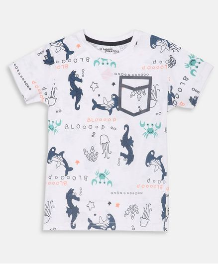 Li'L tomatoes Dino Print Half Sleeves Tee With 3 Ply Face Mask - White