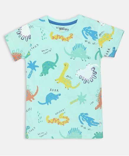 Li'L tomatoes Dino Print Half Sleeves Tee With 3 Ply Face Mask - Sea Green