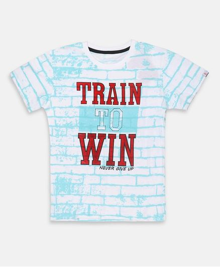 Li'L tomatoes Train To Win Print Half Sleeves Tee With 3 Ply Face Mask - White