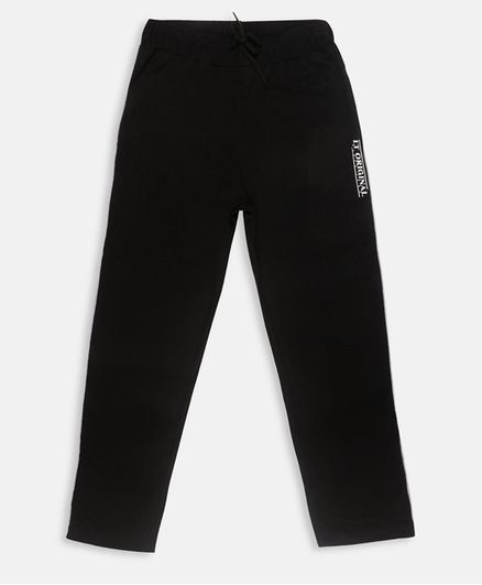 Li'L tomatoes Full Length Track Pants With 3 Ply Face Mask - Black