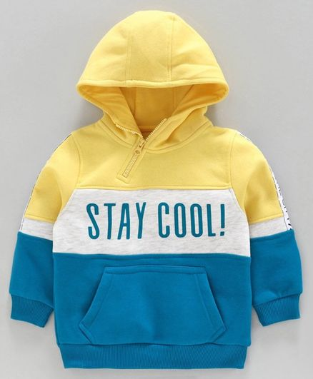 Babyoye Cotton Blend Fleece Full Sleeves Hooded Sweatshirt Text Print - Yellow Blue Grey