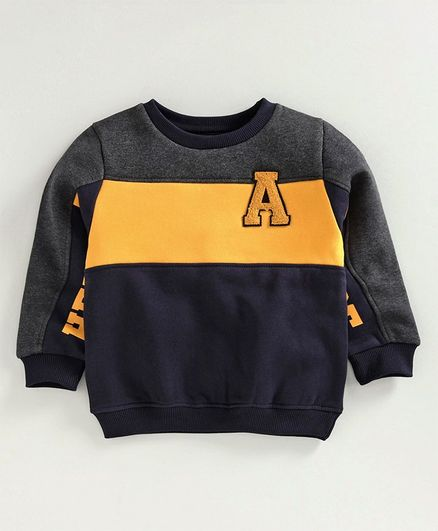Babyoye Full Sleeves Brushed Fleece Sweatshirt Alphabet Patch - Navy Blue