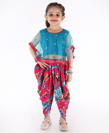KID1 Sleeveless Sequined  Net Cape Top With Floral Printed Dhoti Set  - Blue & Pink