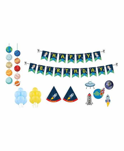 Untumble Space Theme Birthday Party Decoration Kit Multicolor - Pack of 58