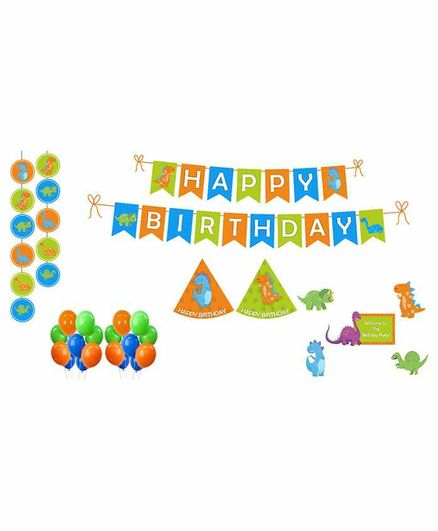Untumble Dinosaur Theme Birthday Kit Green - Pack of 58
