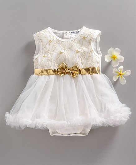 Mark & Mia Sleeveless Floral Embroidered Frock Style Onesie - White