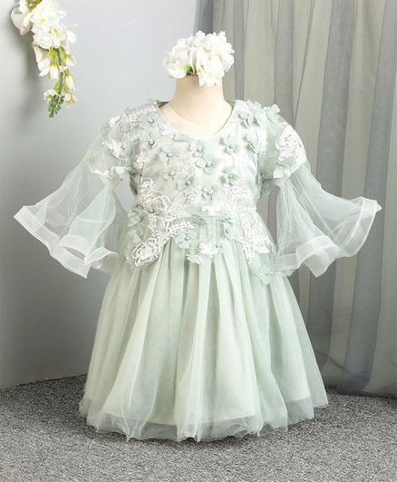 Mark & Mia Bell Sleeves Floral Embroidered Frock - Light Green