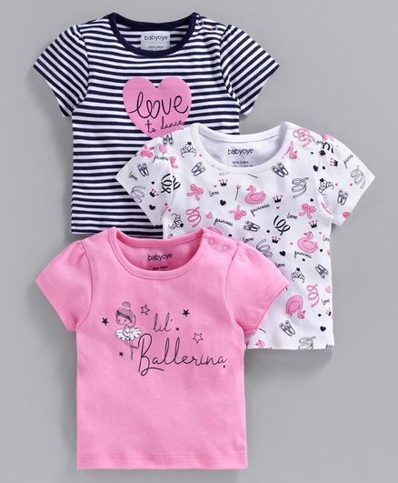 Babyoye Cotton Half Sleeves Tee Pack of 3 - Pink White Navy