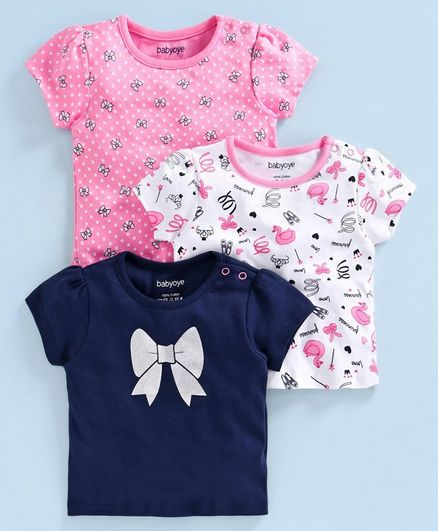Babyoye Short Sleeves Cotton Top Bow Print Pack of 3 - Pink Navy