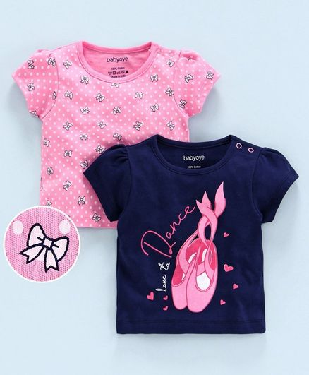 Babyoye Short Sleeves Top Bow & Text Print Pack of 2 - Pink Blue