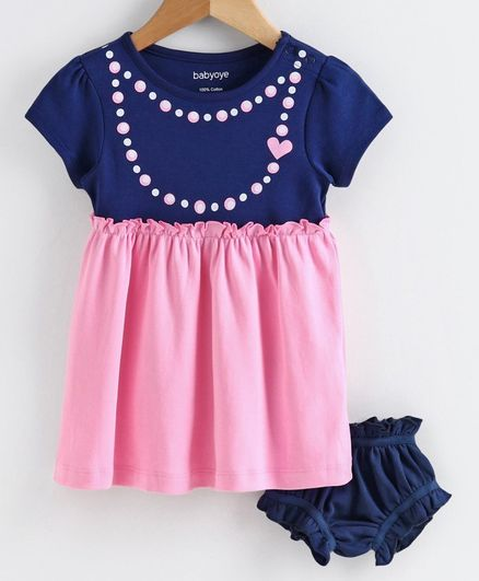 Babyoye Cotton Short Sleeves Frock With Bloomer Necklace Print - Navy Blue Pink