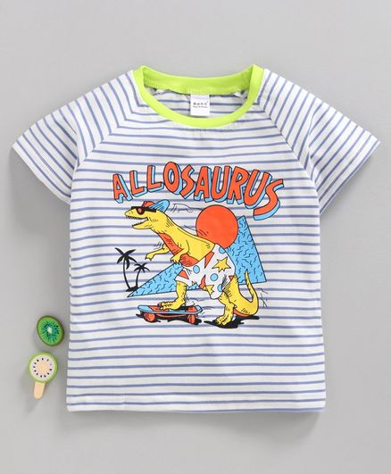 Meng Wa Half Sleeves Striped Tee Allosaurus Print - White Blue