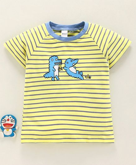 Meng Wa Half Raglan Sleeves Striped Tee Animal Print - Yellow