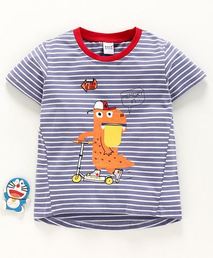 Meng Wa Half Sleeves Striped Tee Dino Print - Blue