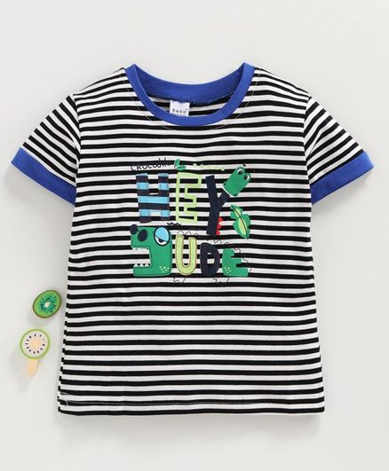 Meng Wa Half Sleeves Striped Tee Hey Dude Print - Black