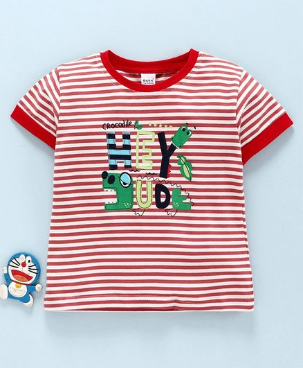 Meng Wa Half Sleeves Striped Tee Dude Print - Red