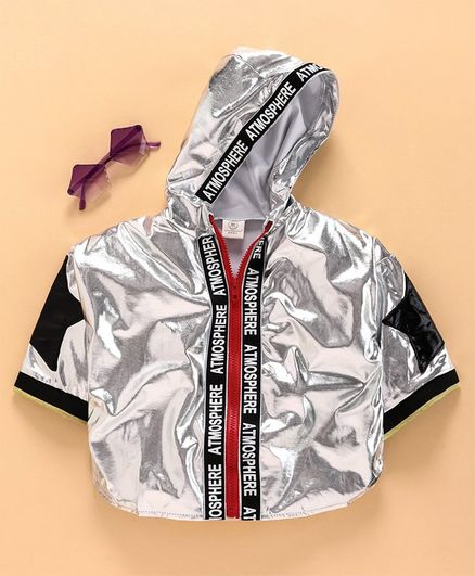 Meng Wa Full Sleeves Jacket Atmosphere Print - Silver