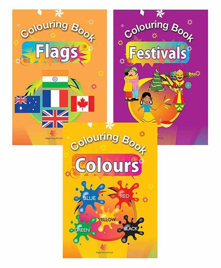 Maple Press Colouring Books Set of 3 - English