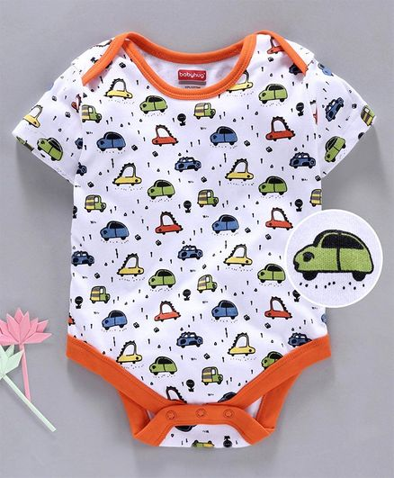 Babyhug 100% Cotton Half Sleeves Onesie Car Print - White Orange