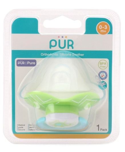 Pur Orthodontic Silicone Soother - Green & blue