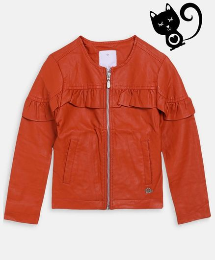Elle Kids Solid Full Sleeves Jacket - Orange