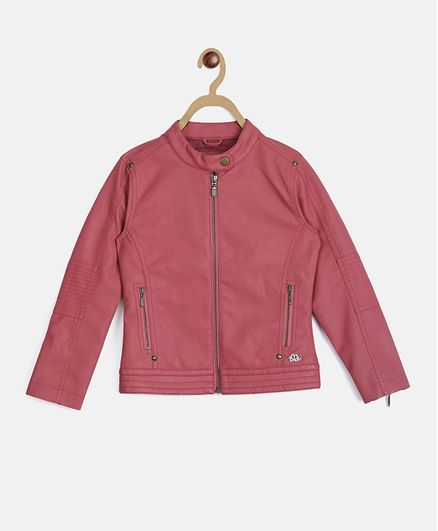 Elle Kids Solid Full Sleeves Jacket - Pink
