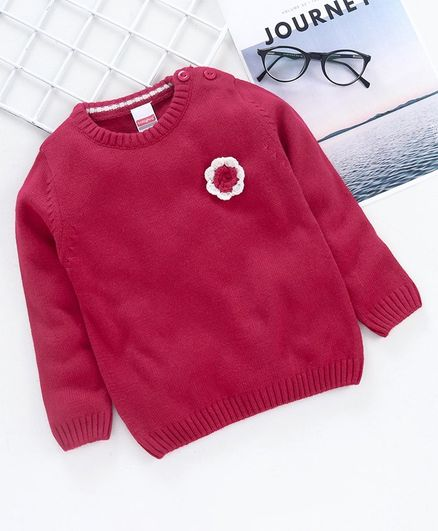 Babyhug Full Sleeves Sweater Flower Applique - Dark Pink