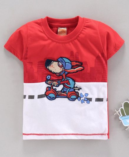 Little Kangaroos Half Sleeves Tee Puppy Embroidery - Red White