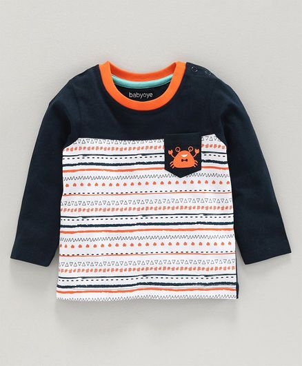 Babyoye Cotton Full Sleeves Tee Crab Print - Navy