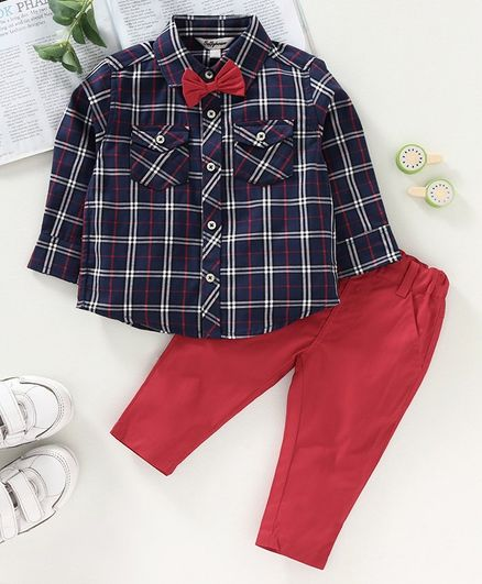 ToffyHouse Full Sleeves Checked Shirt with Trousers Bow Applique - Navy Blue Red