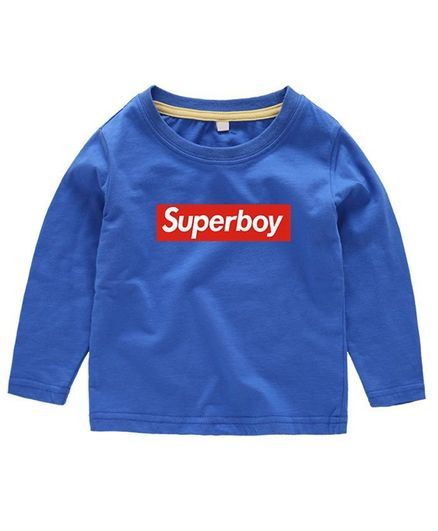 Kookie Kids Full Sleeves Tee Superboy Print - Blue
