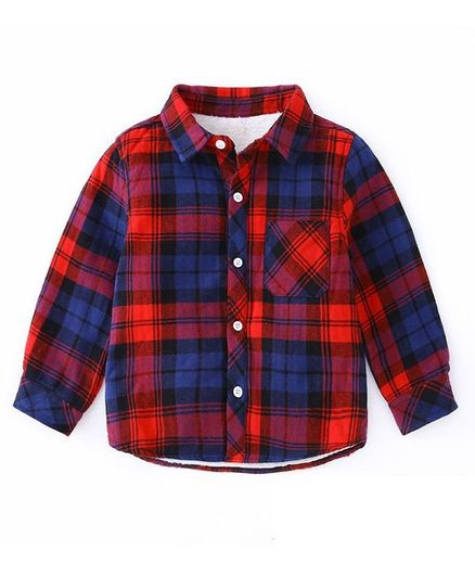 Kookie Kids Full Sleeves Checks Shirt - Blue Red