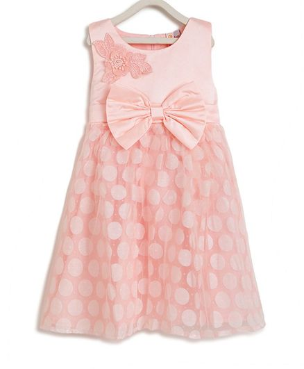 Kids On Board Sleeveless Flower Patch Detailing Flared Dress - Peach