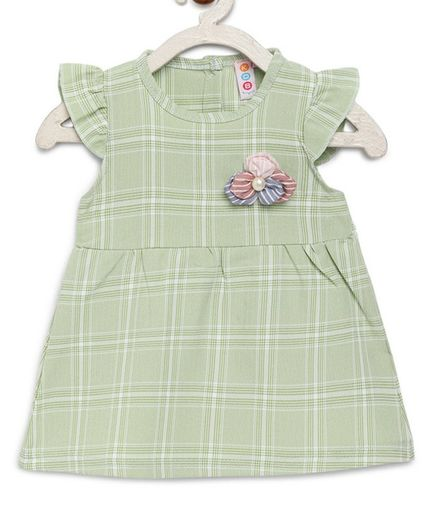 Kids On Board Cap Sleeves Checkered Dress - Light Green