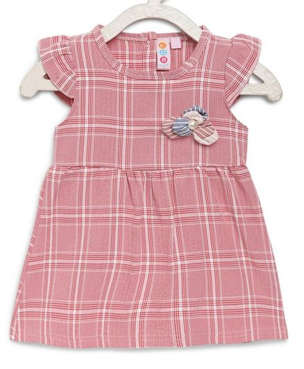 Kids On Board Cap Sleeves Checkered Dress - Pink