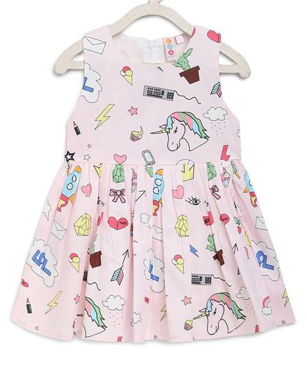Kids On Board Sleeveless Cactus & Unicorn Printed Flared Dress - Light Pink