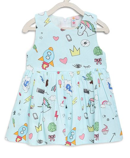 Kids On Board Sleeveless Cactus & Unicorn Printed Flared Dress - Light Blue