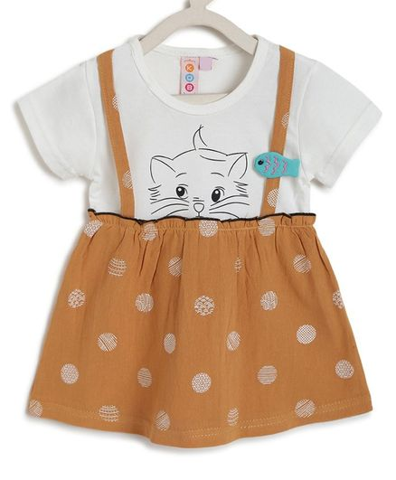 Kids On Board Half Sleeves Cat Printed Flared Dress - Brown