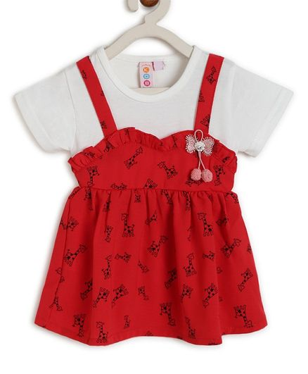 Kids On Board Short Sleeves Giraffe Print Dress - Red