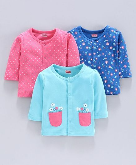 Babyhug Cotton Vest Pack Of 3 - Pink & Blue