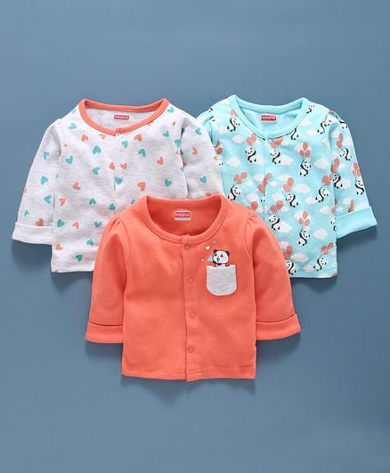 Babyoye Cotton Half Sleeves Vest  Pack of 3 - Orange Green White