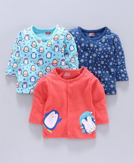 Babyhug 100% Cotton Vest Penguin Print Pack of 3 - Red Blue