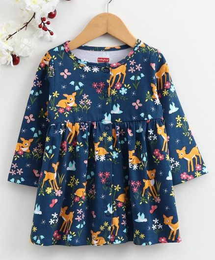 Babyhug Full Sleeves Frock Deer & Floral Print - Navy Blue
