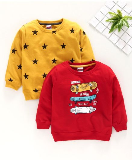Babyhug Full Sleeves Sweatshirts Star & Skateboard Print Pack of 2 - Red Yellow